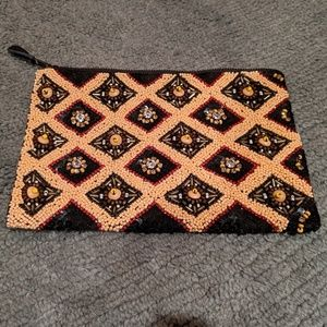 Anthropologie Beaded Clutch Purse